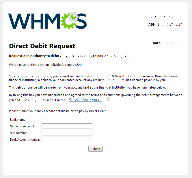 Cloudmate WHMCS Gateway Direct Debit Form – Direct Debit Form